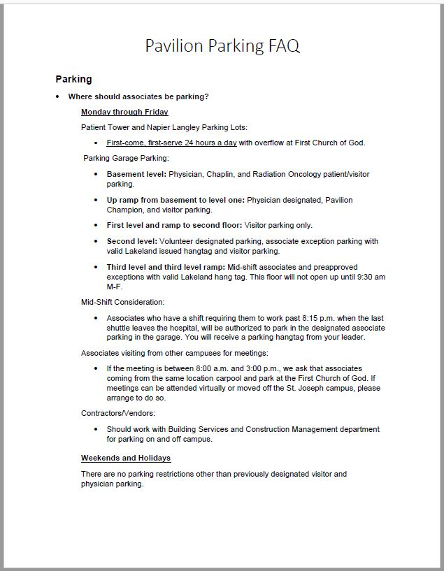 Parking FAQ
