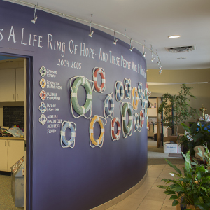 lorys place donor wall with life rings