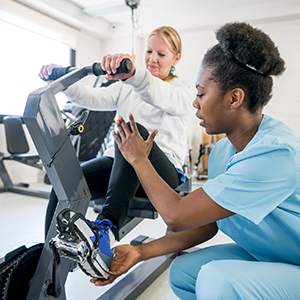 Patient on exercise bike