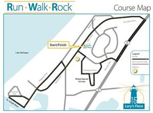 Course map of the 2020 5k for Lory's Place.