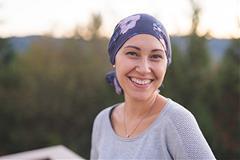 Lady in head scarf