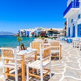 outdoor tables near the sea