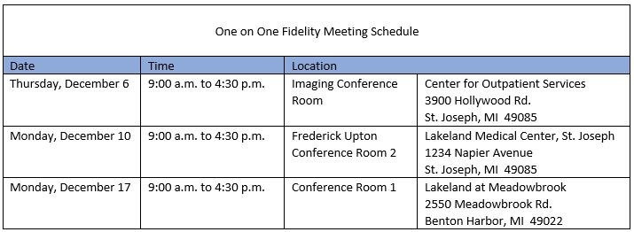 Schedule of available meeting times