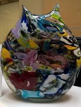 multi-colored glass vase