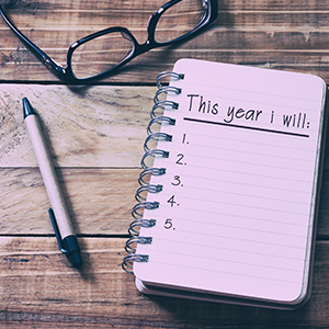 Image of Notebook with a Page Title of New Years Resolutions