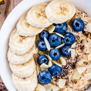 Image of Oats in a bowl with blueberries