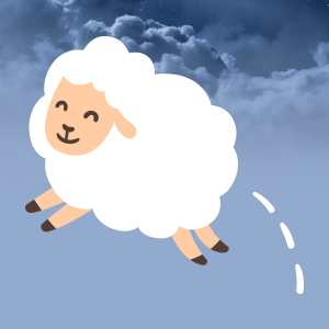 Image of Sheep Jumping in Clouds
