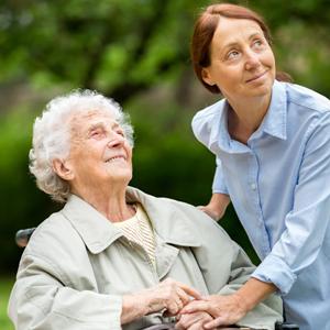 volunteer helping senior