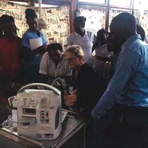 Teaching the locals how to use an ultrasound machine